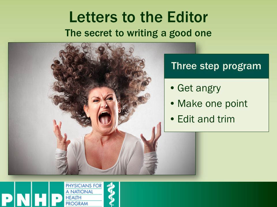 Letters to the Editor The secret to writing a good one Three step program Get angry Make one point Edit and trim