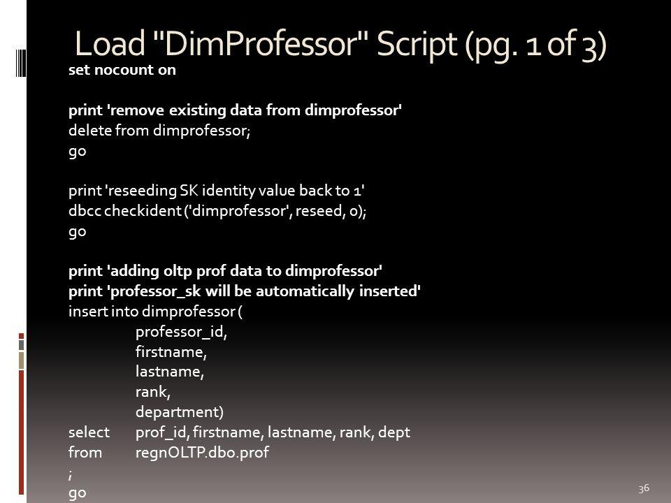 Load DimProfessor Script (pg.