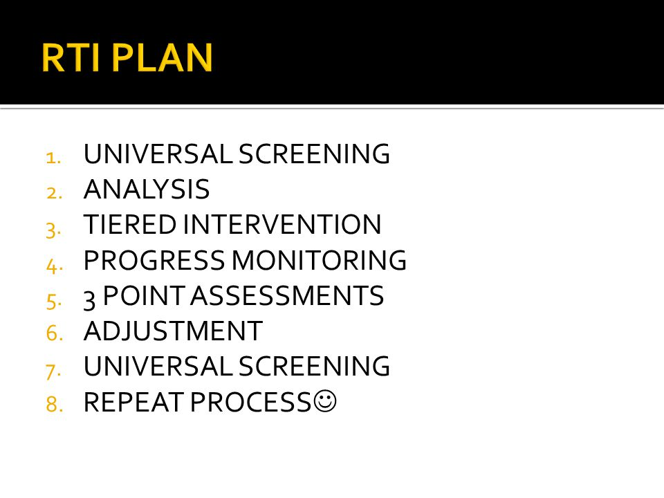 1. UNIVERSAL SCREENING 2. ANALYSIS 3. TIERED INTERVENTION 4.