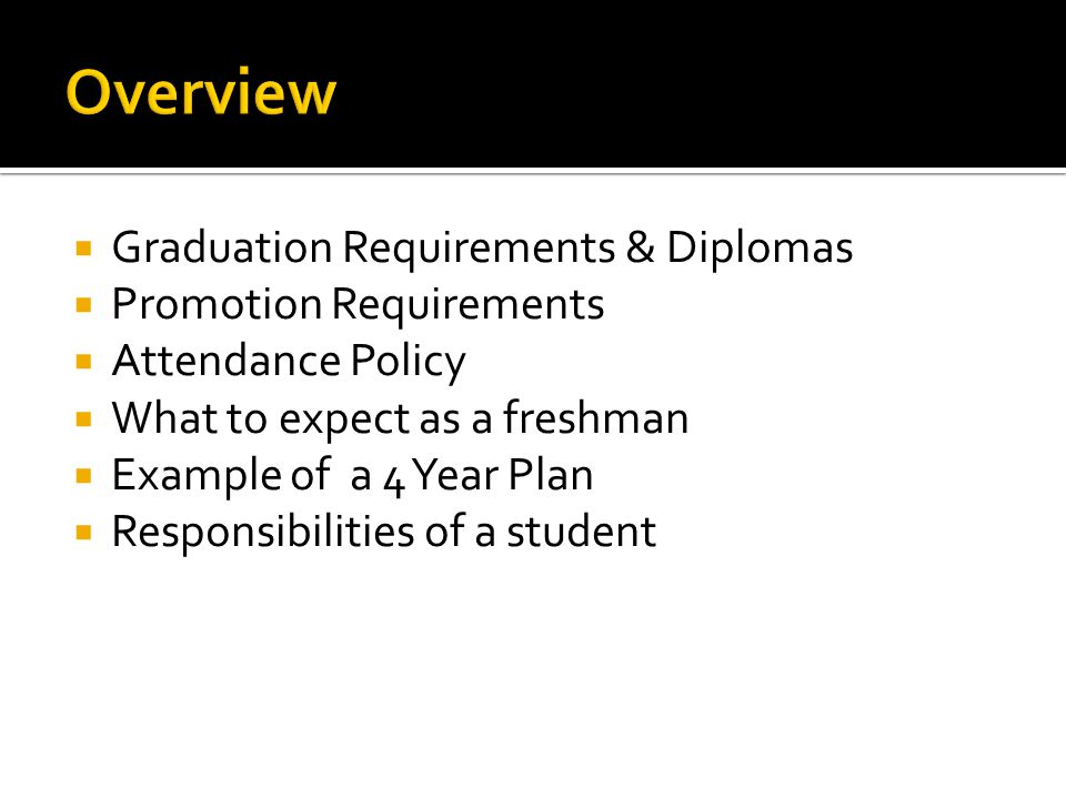 Graduation Requirements & Diplomas  Promotion Requirements  Attendance Policy  What to expect as a freshman  Example of a 4 Year Plan  Responsi