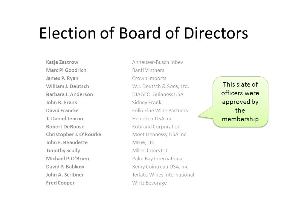 Election of Board of Directors Katja Zastrow Anheuser-Busch Inbev Marc Pl GoodrichBanfi Vintners James P.