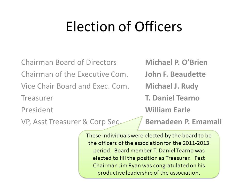 Election of Officers Chairman Board of DirectorsMichael P.