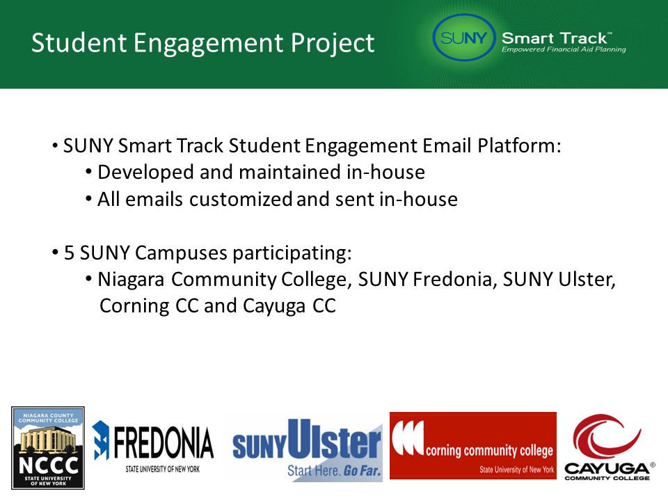 Student Engagement Project SUNY Smart Track Student Engagement Email Platform: Developed and maintained in-house All emails customized and sent in-house 5 SUNY Campuses participating: Niagara Community College, SUNY Fredonia, SUNY Ulster, Corning CC and Cayuga CC