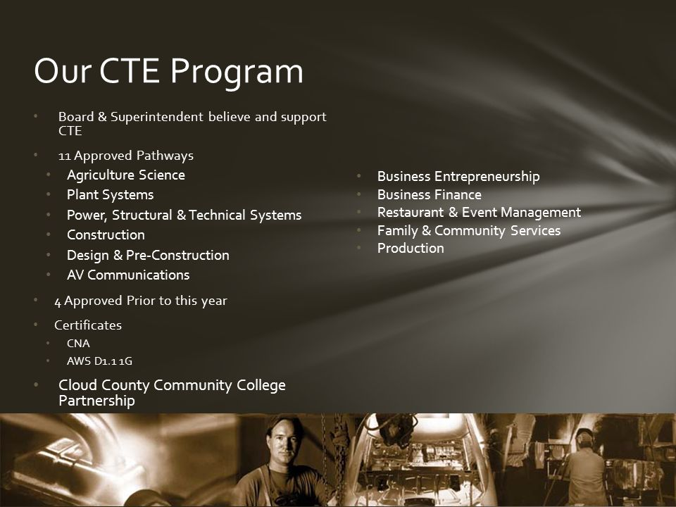 Board & Superintendent believe and support CTE 11 Approved Pathways Agriculture Science Plant Systems Power, Structural & Technical Systems Construction Design & Pre-Construction AV Communications 4 Approved Prior to this year Certificates CNA AWS D1.1 1G Cloud County Community College Partnership Our CTE Program Business Entrepreneurship Business Finance Restaurant & Event Management Family & Community Services Production