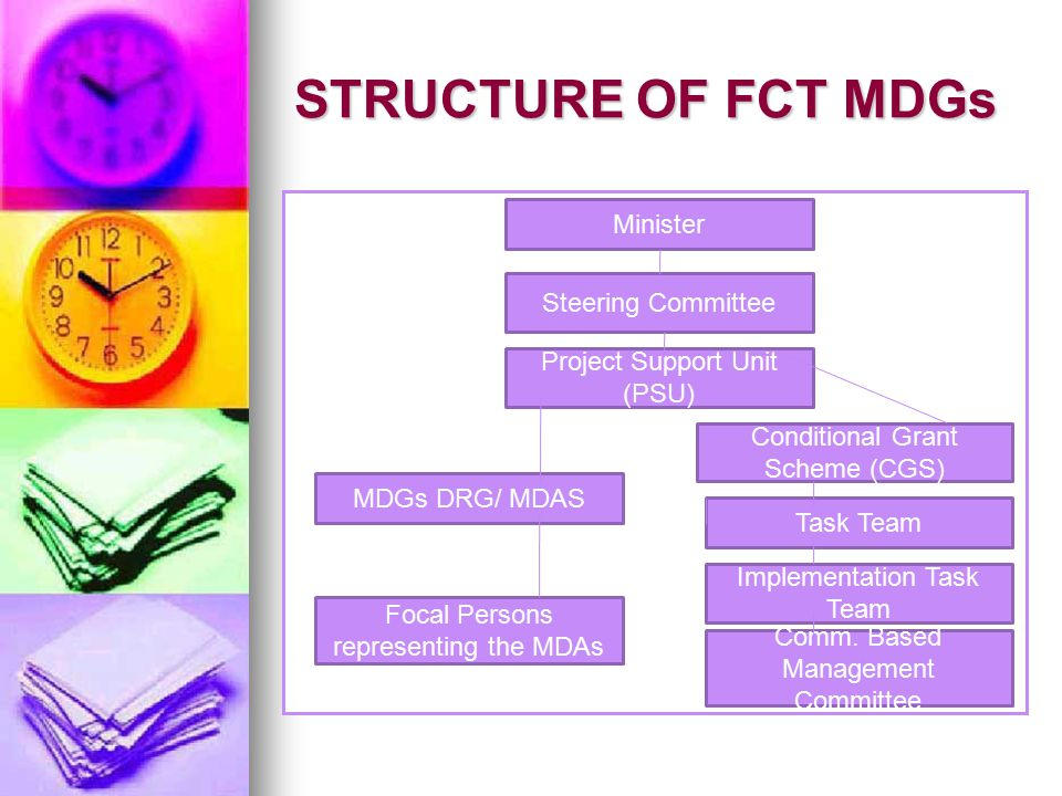 STRUCTURE OF FCT MDGs Minister Steering Committee Conditional Grant Scheme (CGS) MDGs DRG/ MDAS Focal Persons representing the MDAs Task Team Implementation Task Team Comm.