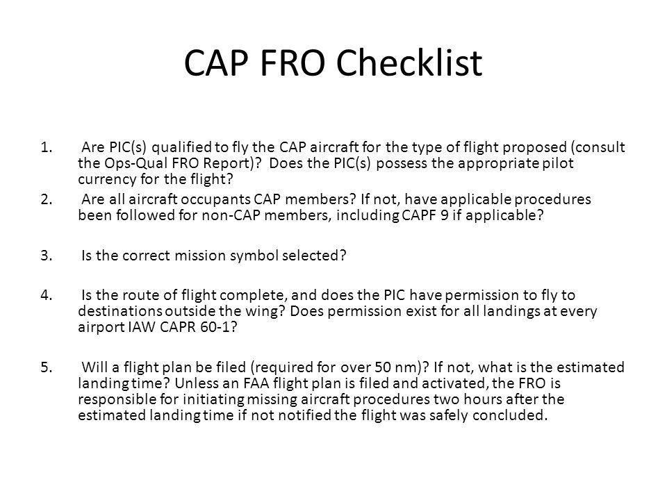 CAP FRO Checklist 1.