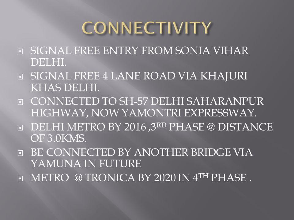  SIGNAL FREE ENTRY FROM SONIA VIHAR DELHI.  SIGNAL FREE 4 LANE ROAD VIA KHAJURI KHAS DELHI.