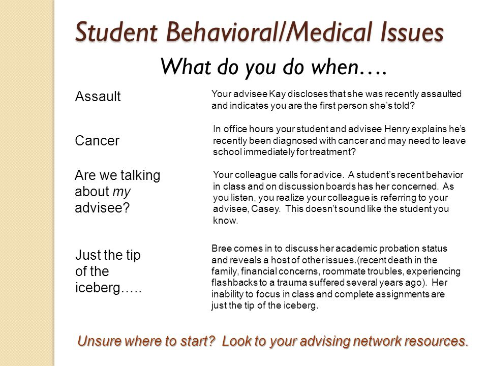 Student Behavioral/Medical Issues What do you do when….