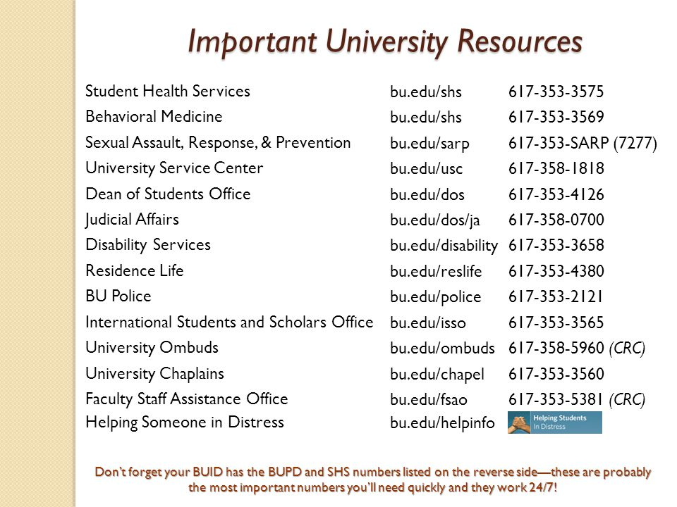 Important University Resources Important University Resources Don't forget your BUID has the BUPD and SHS numbers listed on the reverse side—these are probably the most important numbers you'll need quickly and they work 24/7.