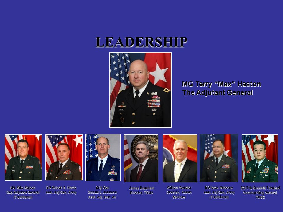 LEADERSHIP MG Terry Max Haston The Adjutant General Brig Gen Donald L.