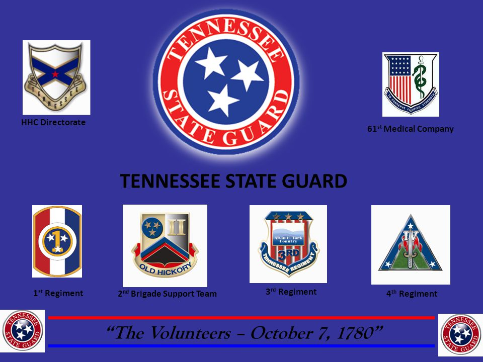 The Volunteers – October 7, 1780 1 st Regiment 3 rd Regiment HHC Directorate 2 nd Brigade Support Team4 th Regiment 61 st Medical Company TENNESSEE STATE GUARD