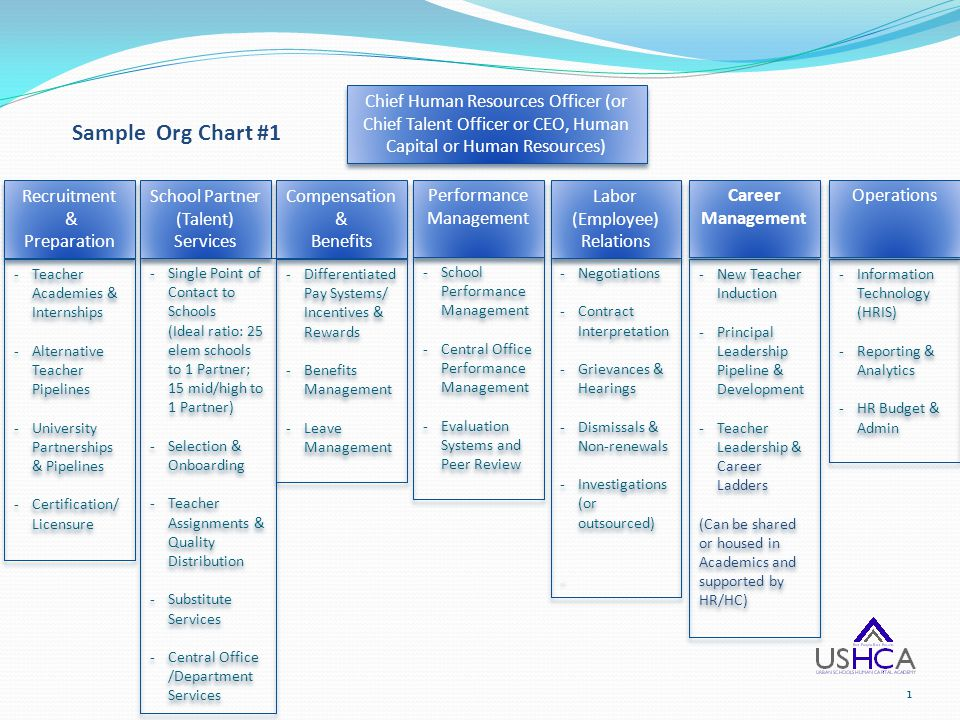 Sample Org Chart #1 Recruitment & Preparation Recruitment & Preparation -Teacher Academies & Internships -Alternative Teacher Pipelines -University Pa