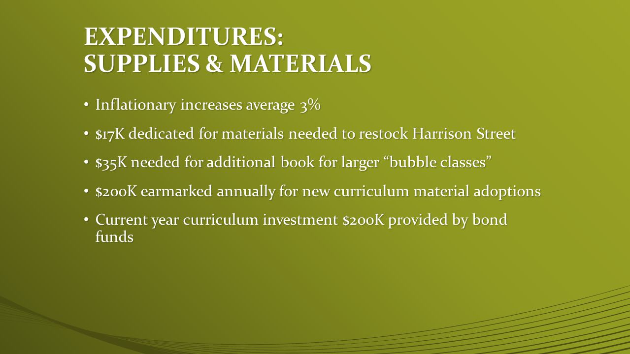 EXPENDITURES: SUPPLIES & MATERIALS Inflationary increases average 3% Inflationary increases average 3% $17K dedicated for materials needed to restock Harrison Street $17K dedicated for materials needed to restock Harrison Street $35K needed for additional book for larger bubble classes $35K needed for additional book for larger bubble classes $200K earmarked annually for new curriculum material adoptions $200K earmarked annually for new curriculum material adoptions Current year curriculum investment $200K provided by bond funds Current year curriculum investment $200K provided by bond funds