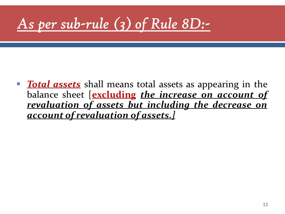  Total assets shall means total assets as appearing in the balance sheet [excluding the increase on account of revaluation of assets but including the decrease on account of revaluation of assets.] 11