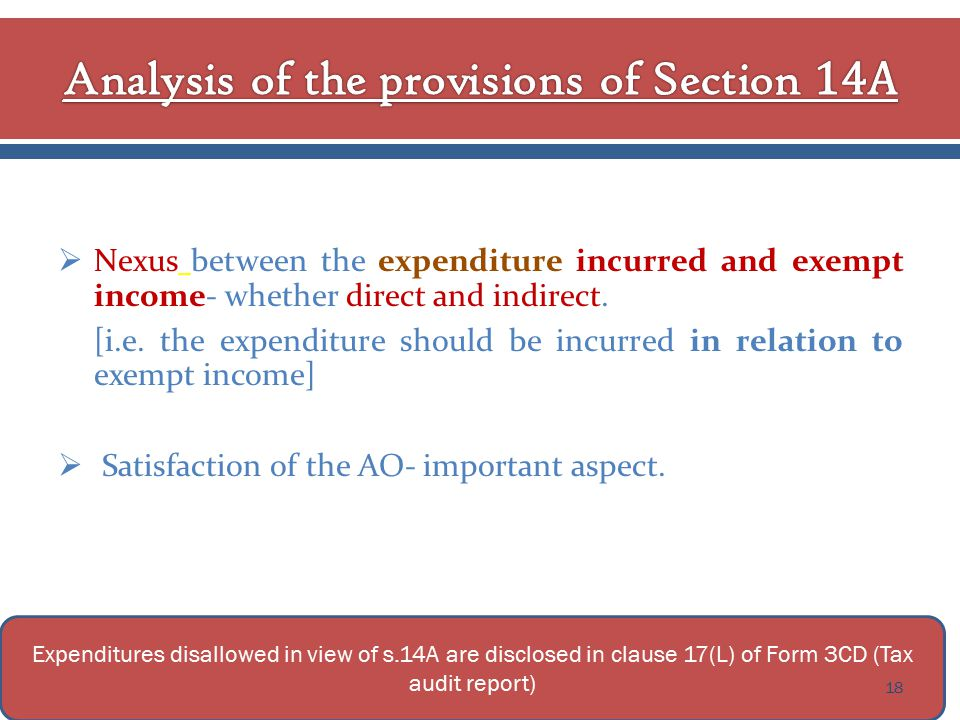  Nexus between the expenditure incurred and exempt income- whether direct and indirect.