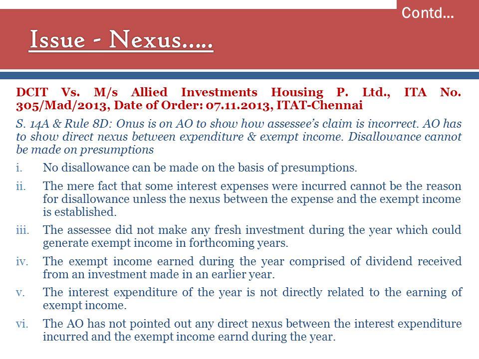DCIT Vs. M/s Allied Investments Housing P. Ltd., ITA No.