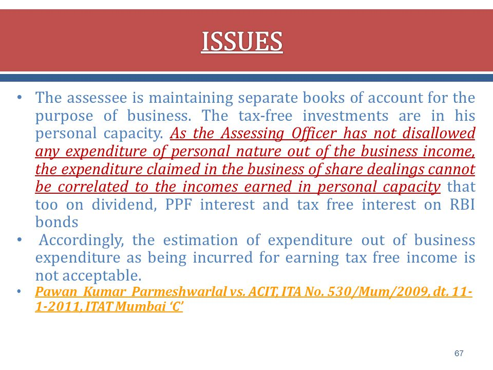 The assessee is maintaining separate books of account for the purpose of business.