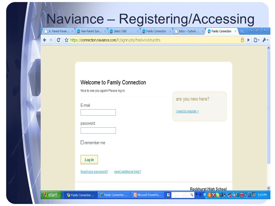 Type your registration code into this box Naviance – Registering/Accessing