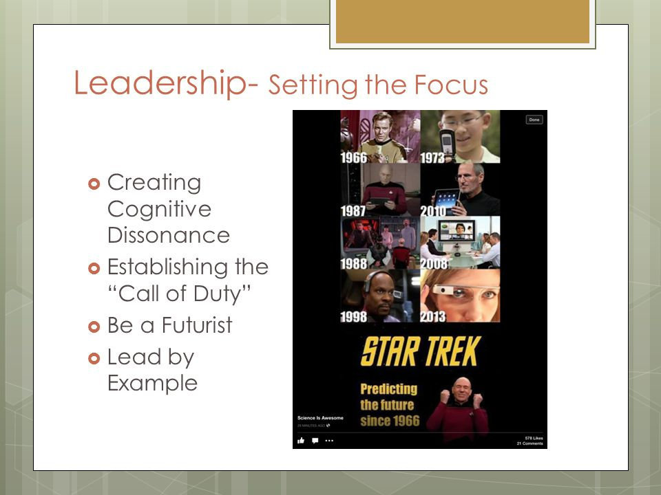 Leadership- Setting the Focus  Creating Cognitive Dissonance  Establishing the Call of Duty  Be a Futurist  Lead by Example