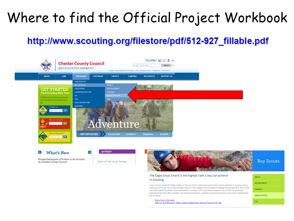 http://www.scouting.org/filestore/pdf/512-927_fillable.pdf Where to find the Official Project Workbook