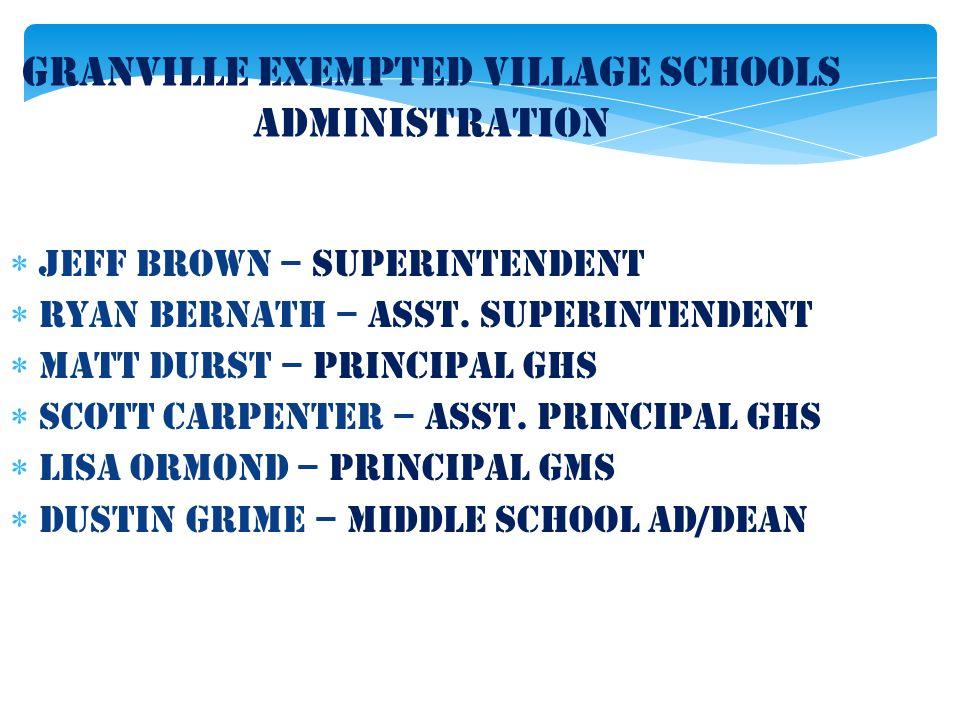 Granville Exempted Village Schools Administration  Jeff Brown – Superintendent  Ryan Bernath – asst. superintendent  MatT Durst – Principal GHS  S