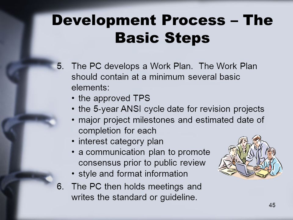45 Development Process – The Basic Steps 5.The PC develops a Work Plan.