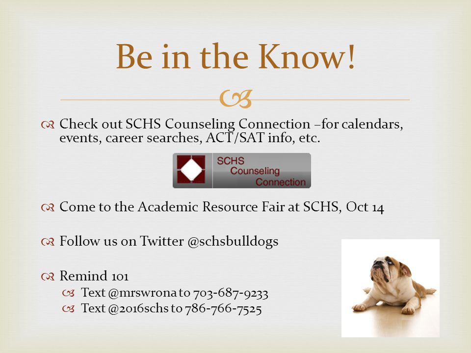 Presented by the SCHS Guidance Department Counselors