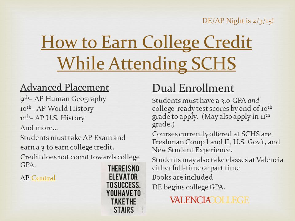 How to Earn College Credit While Attending SCHS Advanced Placement 9 th – AP Human Geography 10 th – AP World History 11 th – AP U.S.