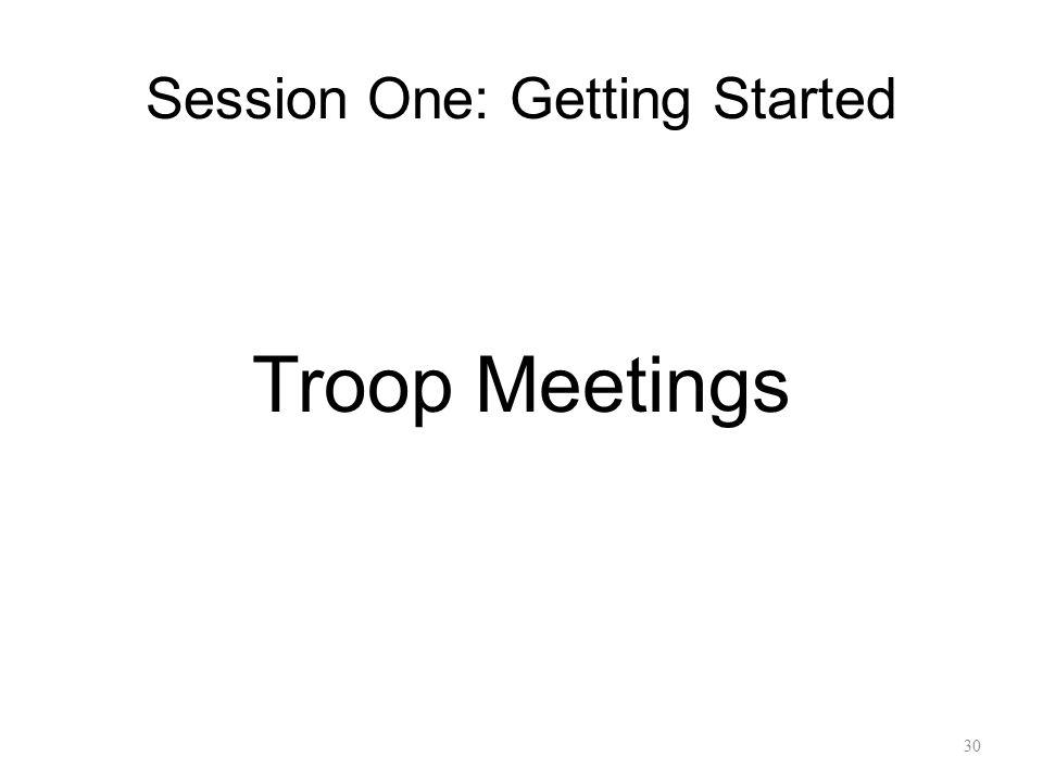 Session One: Getting Started Troop Meetings 30