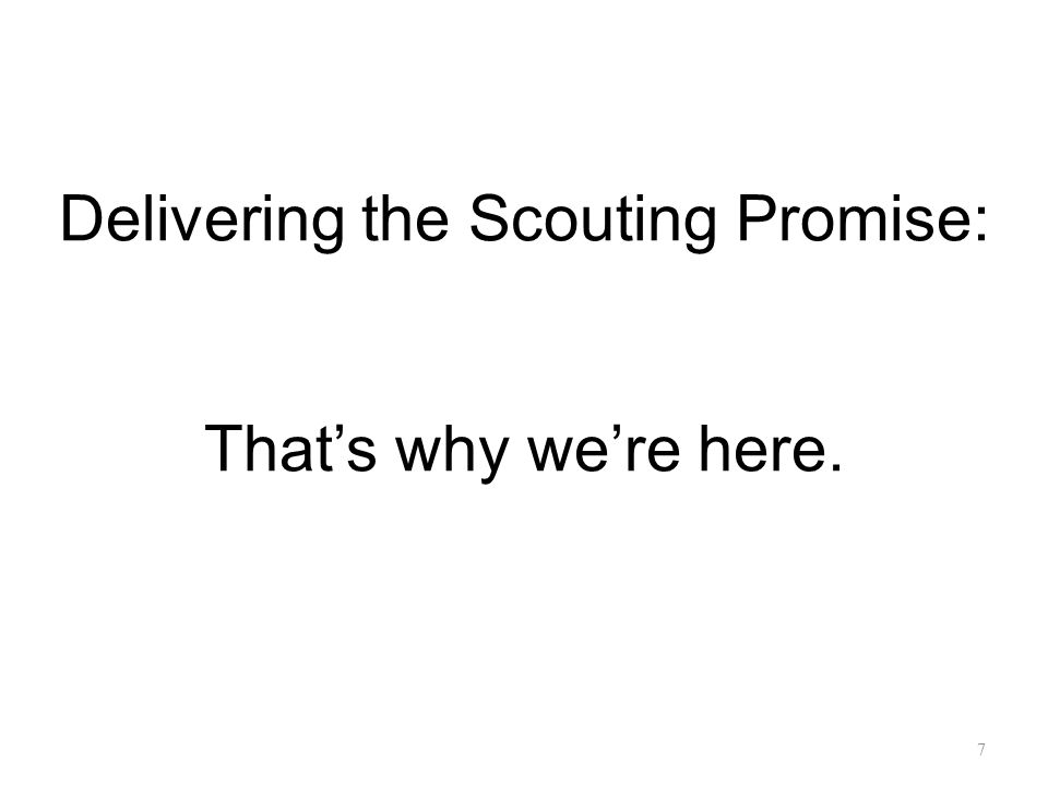 Delivering the Scouting Promise: That's why we're here. 7