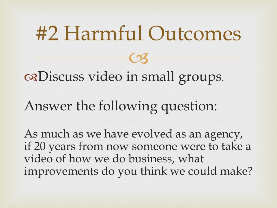   Discuss video in small groups.