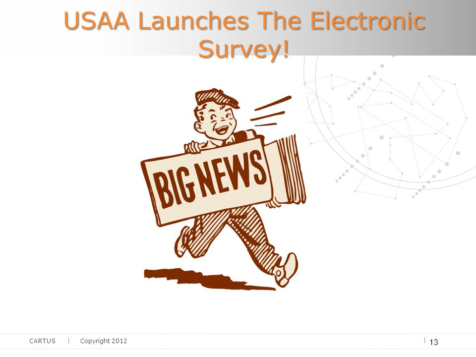 CARTUS Copyright 2012 USAA Launches The Electronic Survey! 13