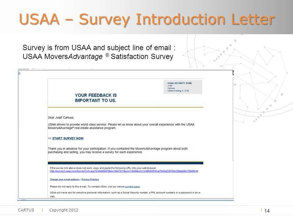 CARTUS Copyright 2012 USAA – Survey Introduction Letter 14 Survey is from USAA and subject line of email : USAA MoversAdvantage ® Satisfaction Survey