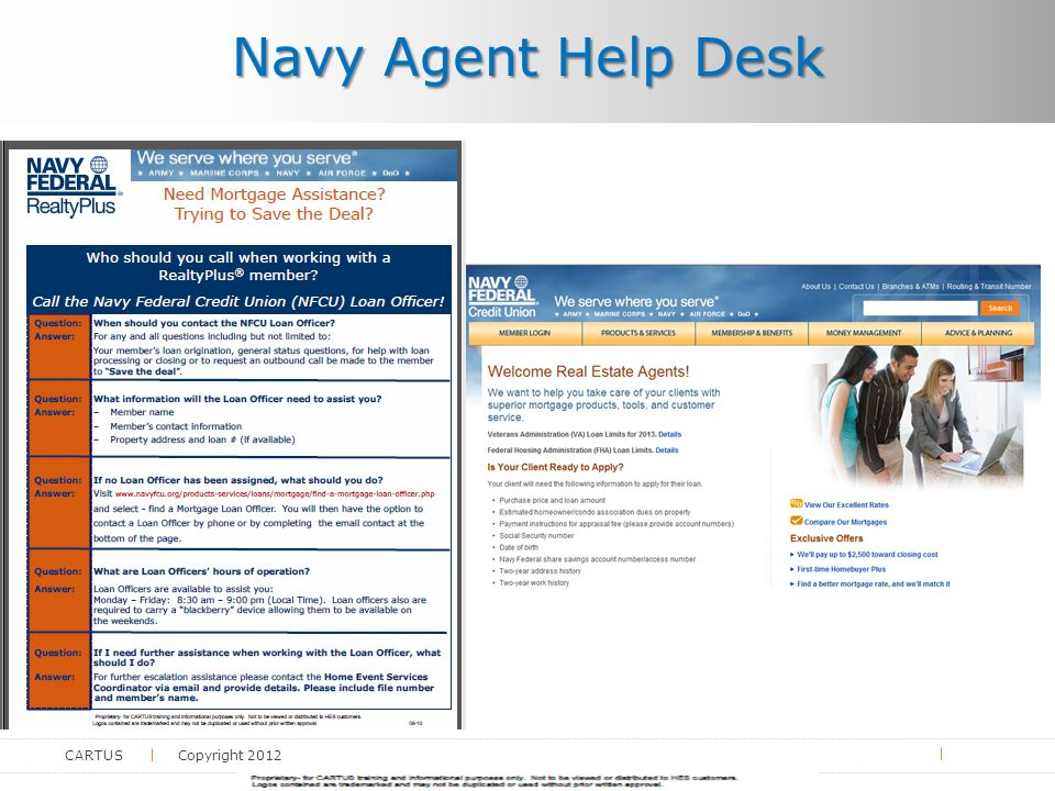 CARTUS Copyright 2012 Navy Agent Help Desk