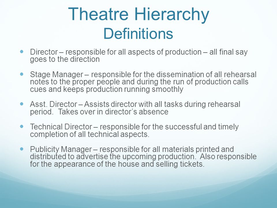 Theatre Hierarchy Definitions Director – responsible for all aspects of production – all final say goes to the direction Stage Manager – responsible f