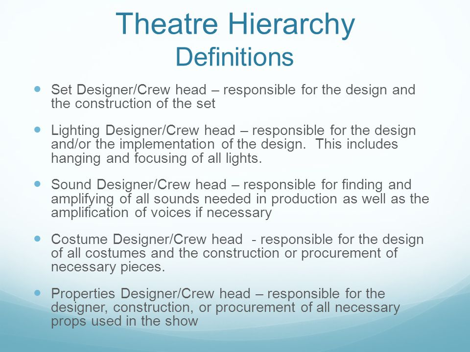 Theatre Hierarchy Definitions Set Designer/Crew head – responsible for the design and the construction of the set Lighting Designer/Crew head – responsible for the design and/or the implementation of the design.