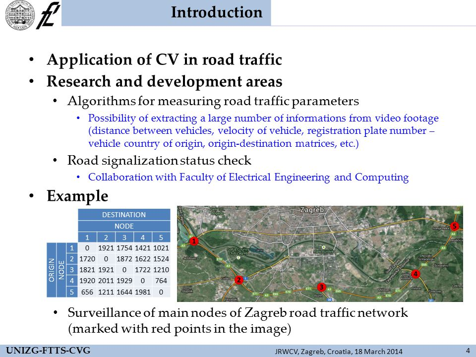 Results 15 UNIZG-FTTS-CVG JRWCV, Zagreb, Croatia, 18 March 2014 Video footage from road traffic Vehicle recognition and identification using license plates CARMEN Freeflow SDK CountryNumber of carsPercentage [%] Germany16631.2 Poland8816.5 Austria8315.6 Czech Republic7213.5 Croatia478.8 Others7614.4 Detection of moving vehicleVehicle tracking