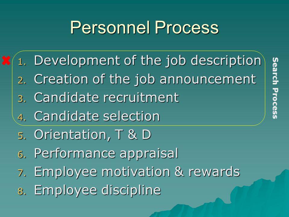 Personnel Process 1. Development of the job description 2. Creation of the job announcement 3. Candidate recruitment 4. Candidate selection 5. Orienta