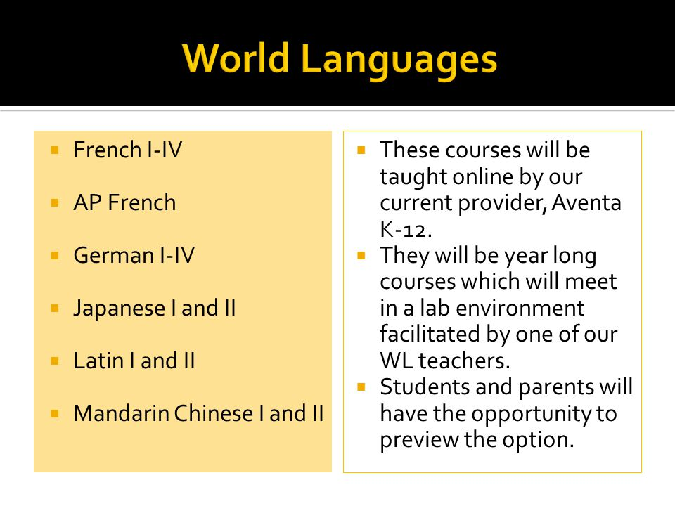  French I-IV  AP French  German I-IV  Japanese I and II  Latin I and II  Mandarin Chinese I and II  These courses will be taught online by our current provider, Aventa K-12.