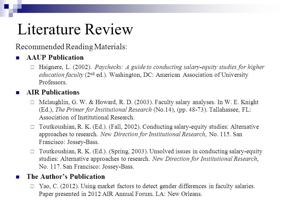 Literature Review Recommended Reading Materials: AAUP Publication  Haignere, L.