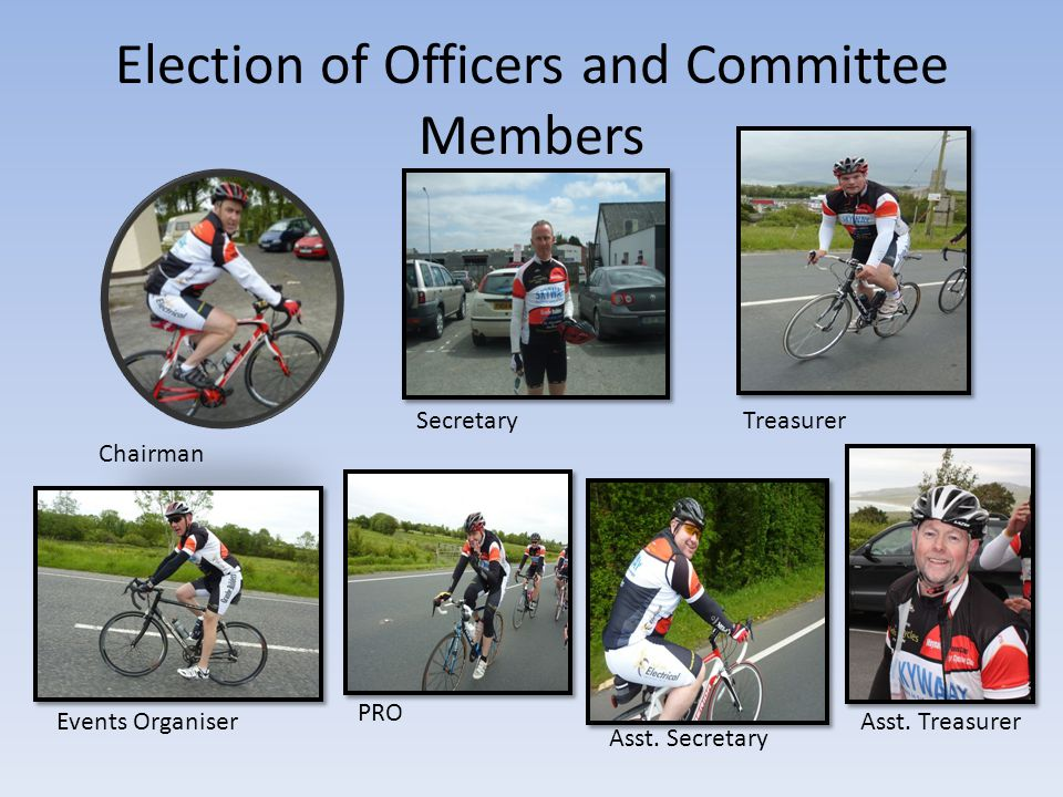 Election of Officers and Committee Members Chairman SecretaryTreasurer Events Organiser PRO Asst.