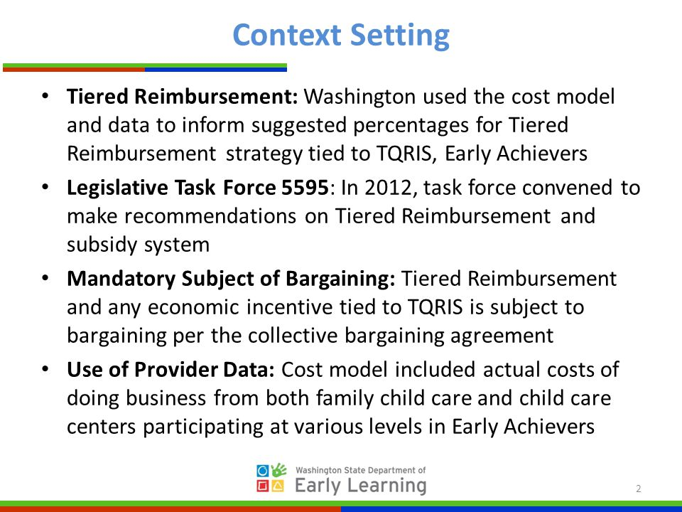 Context Setting Tiered Reimbursement: Washington used the cost model and data to inform suggested percentages for Tiered Reimbursement strategy tied to TQRIS, Early Achievers Legislative Task Force 5595: In 2012, task force convened to make recommendations on Tiered Reimbursement and subsidy system Mandatory Subject of Bargaining: Tiered Reimbursement and any economic incentive tied to TQRIS is subject to bargaining per the collective bargaining agreement Use of Provider Data: Cost model included actual costs of doing business from both family child care and child care centers participating at various levels in Early Achievers 2