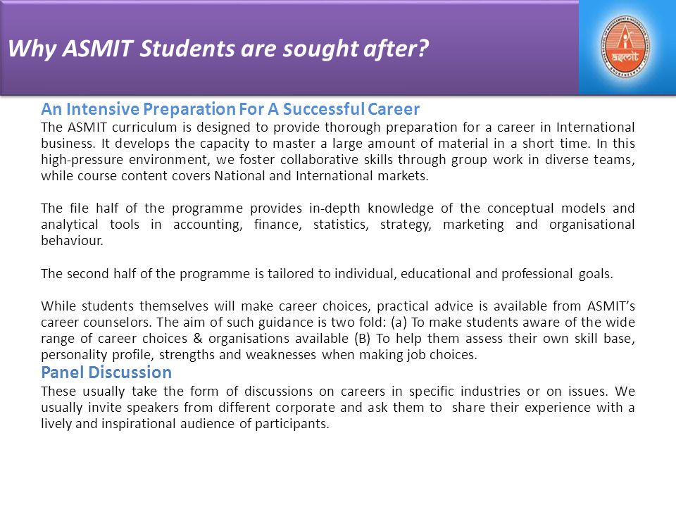 Why ASMIT Students are sought after.