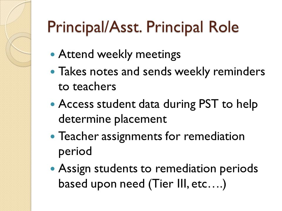 Principal/Asst. Principal Role Attend weekly meetings Takes notes and sends weekly reminders to teachers Access student data during PST to help determ