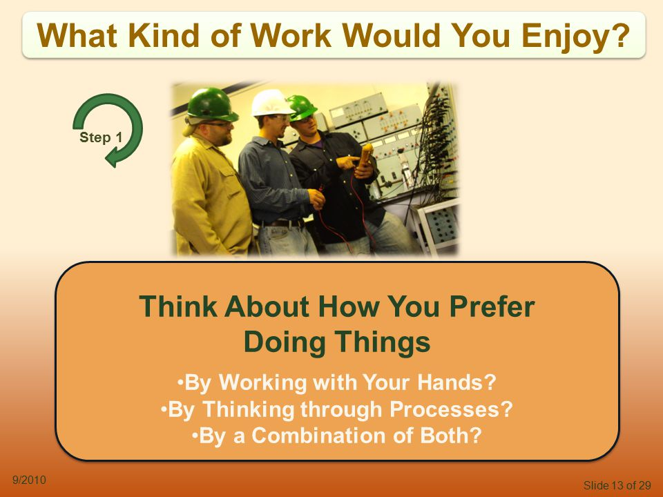 Slide 13 of 29 9/2010 What Kind of Work Would You Enjoy.