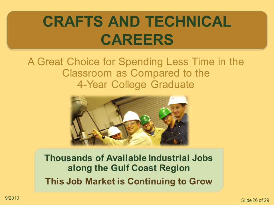 Slide 26 of 29 9/2010 CRAFTS AND TECHNICAL CAREERS CRAFTS AND TECHNICAL CAREERS Thousands of Available Industrial Jobs along the Gulf Coast Region This Job Market is Continuing to Grow A Great Choice for Spending Less Time in the Classroom as Compared to the 4-Year College Graduate