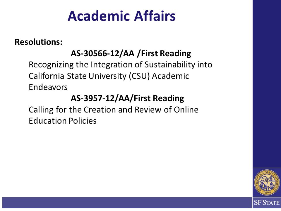 Academic Affairs Statewide Committee Reports: 1.SB1440 A.