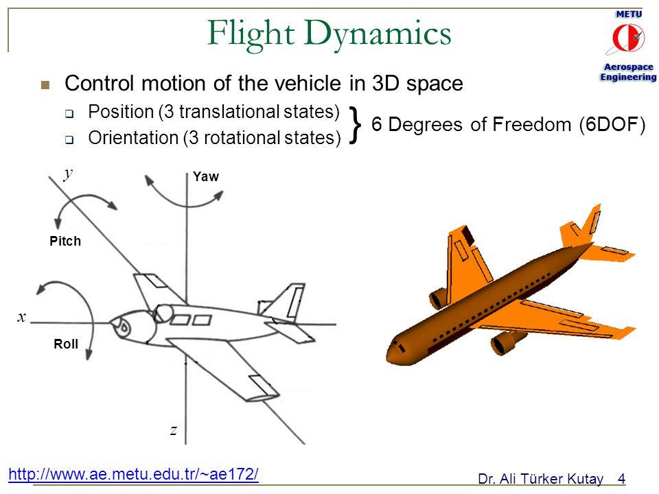 Dr. Ali Türker Kutay4 http://www.ae.metu.edu.tr/~ae172/ Flight Dynamics Control motion of the vehicle in 3D space  Position (3 translational states)