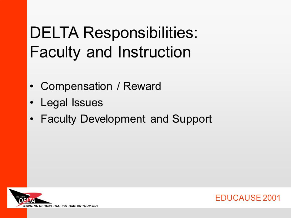 EDUCAUSE 2001 DELTA Responsibilities: Faculty and Instruction Compensation / Reward Legal Issues Faculty Development and Support