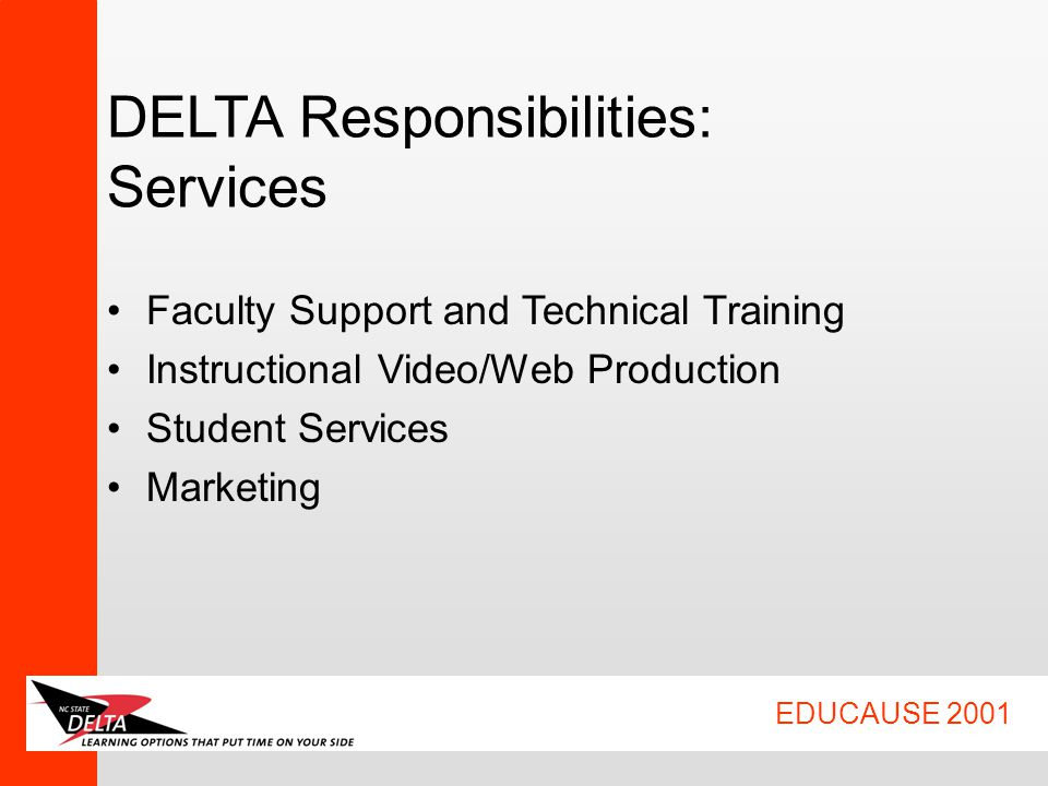 EDUCAUSE 2001 DELTA Responsibilities: Services Faculty Support and Technical Training Instructional Video/Web Production Student Services Marketing